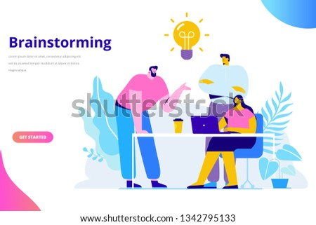 Brainstorming creative team idea discussion people. Teamwork staff around table laptop. Team thinking and brainstorming.  Analytics of company information. Flat vector illustration #1342795133