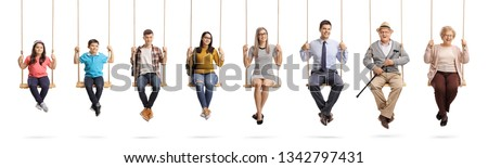 Full length portrait of a children, young people and seniors sitting om swings and smiling isolated on white background #1342797431