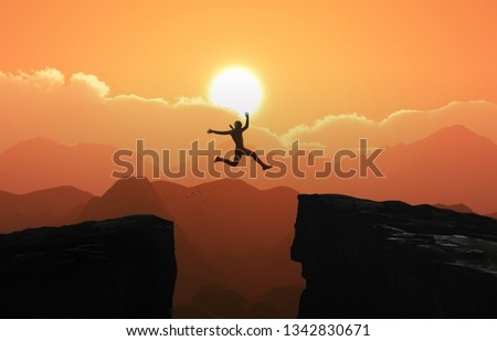 Silhouette a businessman jumps over the ravine. Challenge, obstacle, optimism, determination in business concept - Photo #1342830671