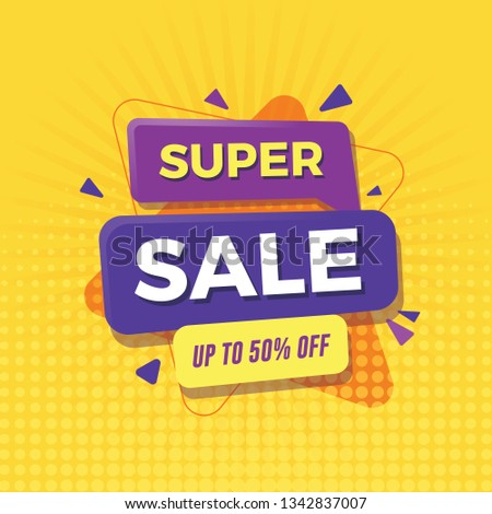 Super sale banner with yellow background #1342837007