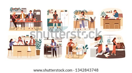 Collection of people cooking in kitchen, serving table, dining together, eating food. Set of smiling men, women and children preparing homemade meals for dinner. Flat cartoon vector illustration. Royalty-Free Stock Photo #1342843748