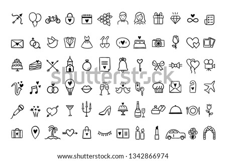 Wedding icons set. Hand drawn vector wedding symbols and signs on white background