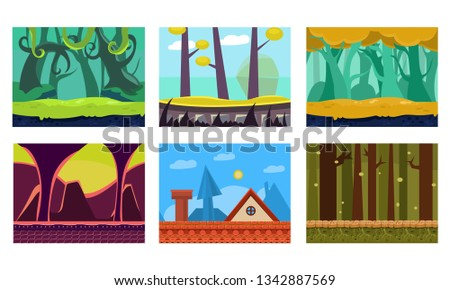 Flat vector set of 6 scenes for mobile game. Cartoon backgrounds with green jungles, house roof, fantastic forest and dungeon #1342887569