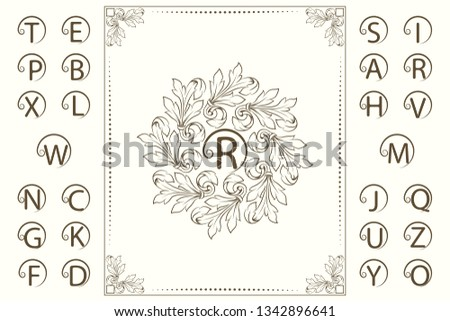 Floral Luxury Monogram Template. Set of Capital Letters. Ornament in Baroque Style. Beautiful Logo Design. Vintage Vignette for Boutique, Hotel, Heraldic, Restaurant, Certificate. Vector Illustration #1342896641