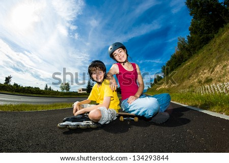 Active young people - rollerblading, skateboarding #134293844