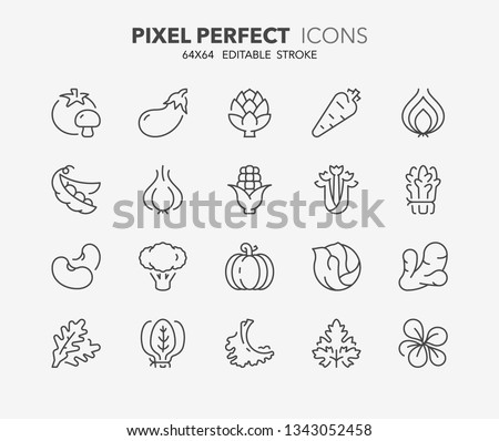 Thin line icons set of vegetables. Outline symbol collection. Editable vector stroke. 64x64 Pixel Perfect. #1343052458