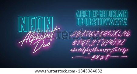 Neon Alphabet duo. Script and bold. Vector fonts. Royalty-Free Stock Photo #1343064032