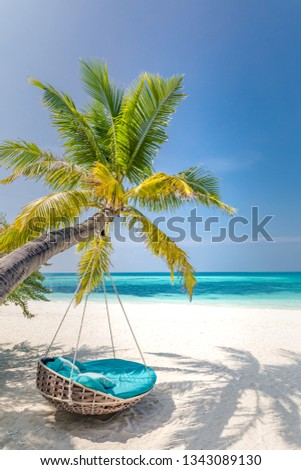 Tropical beach background as summer landscape with beach swing or hammock and white sand and calm sea for beach banner. Perfect beach scene vacation and summer holiday concept. Boost up color process #1343089130