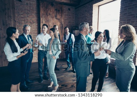 Close up photo business people different age race free leisure excited team building members gathering she her he him his golden beverage toasting best brigade friendship formal wear jackets shirts #1343118290