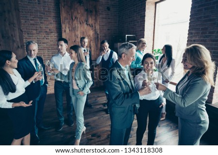 Close up photo business people crowd different age race leisure excited team building members gathering she her he him his golden wine beverage say toasts congrats formal wear jackets shirts Royalty-Free Stock Photo #1343118308