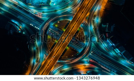 Road and Roundabout top view, Road traffic an important infrastructure in Thailand #1343276948