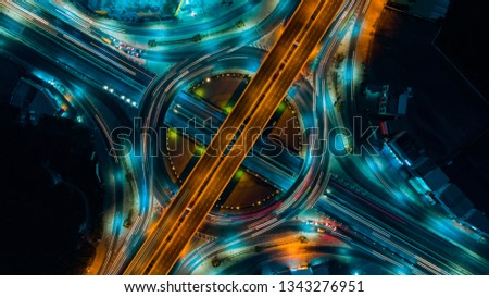 Road and Roundabout top view, Road traffic an important infrastructure in Thailand #1343276951