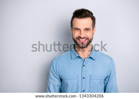 Close up photo amazing attractive he him his guy gladly toothy smiling self-confidently look camera easy-going wearing casual jeans denim shirt outfit clothes isolated grey background Royalty-Free Stock Photo #1343304206