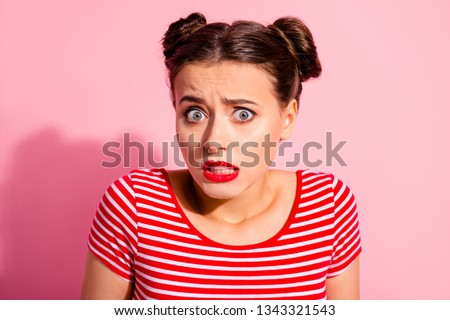 Close up photo beautiful she her lady pretty buns unexpected news big eyes opened mouth speechless oh no face awkward shame eyes wear casual striped red white t-shirt isolated pink background #1343321543