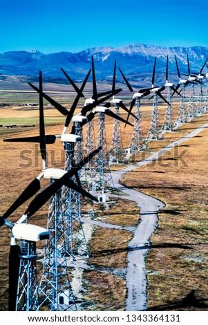 Aerial image of Pincher Creek windmill, wind farm, Alberta, Canada #1343364131