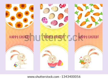 Happy Easter letterings set with cute bunnies, carrots and eggs. Easter greeting cards set. Typed text, calligraphy. For leaflets, brochures, invitations, posters or banners. #1343400056