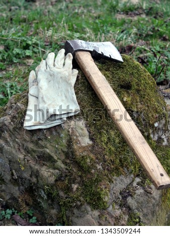 Ax and working gloves lie on a stone covered with moss #1343509244