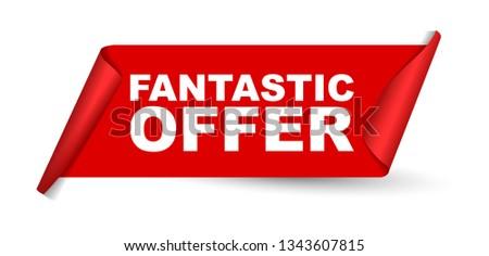 red vector banner fantastic offer #1343607815