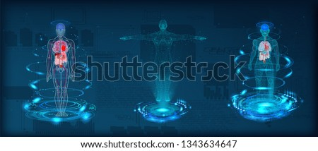 Human body low poly wireframe. Futuristic scan set, human hologram, body x-ray, 3d model in HUD style. Polygonal wireframe mesh with scattered particles and light effects on dark background. Vector  Royalty-Free Stock Photo #1343634647