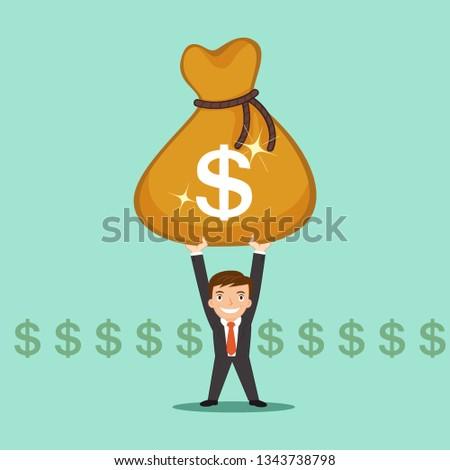 Businessman with big money bag, illustration vector cartoon #1343738798