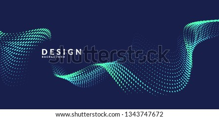 Vector abstract background with dynamic waves, line and particles. Illustration suitable for design Royalty-Free Stock Photo #1343747672