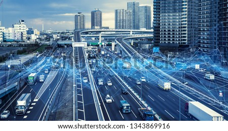 Technology of transportation concept. Traffic control systems. Internet of Things. Mobility as a service. #1343869916