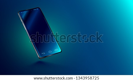 Modern glass smartphone hanging over the table with a smooth dark blue surface in perspective view with reflection. Realistic vector illustration isometric phone. Mock up or template shiny cellphone. #1343958725