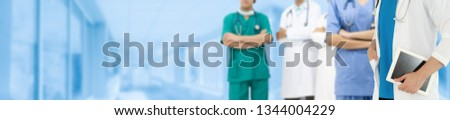 Healthcare people group. Professional doctor working in hospital office or clinic with other doctors, nurse and surgeon. Medical technology research institute and doctor staff service concept. #1344004229