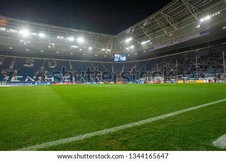 Sinsheim, Germany - November 27, 2018: Rhein-Neckar Arena - the stadium was site of the soccer for group match league championes TSG Hoffenheim - Shakhter. #1344165647