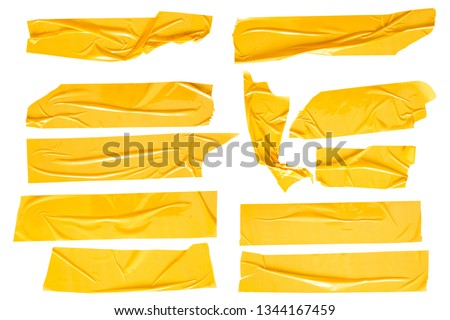 Set of yellow tapes on white background. Torn horizontal and different size yellow sticky tape, adhesive pieces. #1344167459