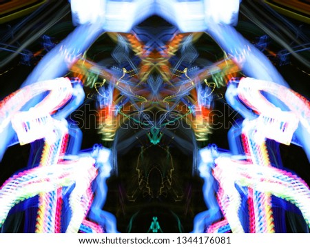 Symmetry and reflection. Neon glow. Abstract blurred background. Texture. Colorful pattern. #1344176081