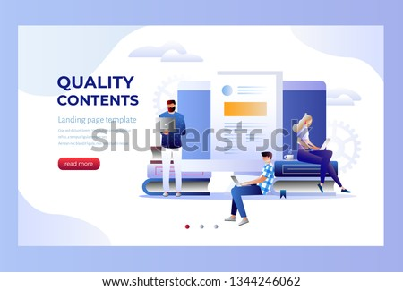 Seo infographic, content for creative blog post. Blogger character. Can use for web banner, infographics, hero images. Flat isometric character, vector illustration isolated on white background.