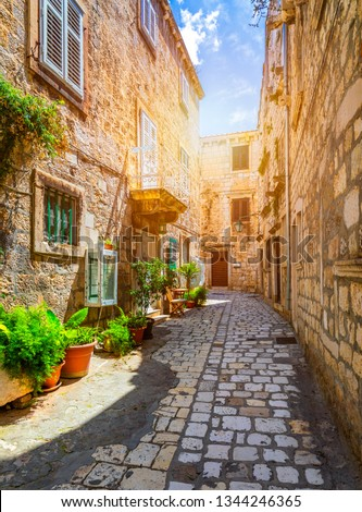 Beautiful street with flowers in the Hvar town, Hvar island, Dalmatia, Croatia. Old Mediterranean street, Hvar town. Old Adriatic town Hvar. Medieval street. Popular touristic destination of Croatia. #1344246365
