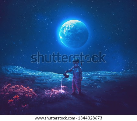 A little girl dressed as an astronaut watering beautiful flowers on the moon. Royalty-Free Stock Photo #1344328673