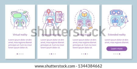 VR technology onboarding mobile app page screen with linear concept. Virtual, augmented, mixed, extended realities walkthrough steps graphic instruction. UX, UI, GUI vector template with illustrations Royalty-Free Stock Photo #1344384662