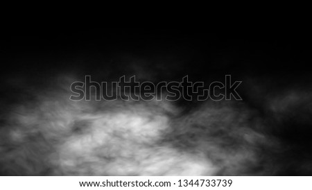 Dry ice smoke clouds fog background of fractal noise effect 3d illustration. #1344733739