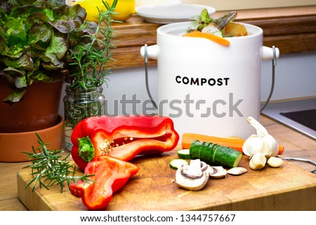 Food waste recycle, real kitchen food waste from food preparation collected for recycling in kitchen compost collecting pot container with chopped vegetables on chopping board #1344757667