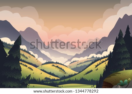 Vector background with vibrant cartoon illustrations of mountain ridges, forest and lake. #1344778292