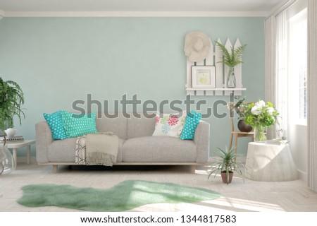 White stylish minimalist room with sofa and green home plants. Scandinavian interior design. 3D illustration #1344817583