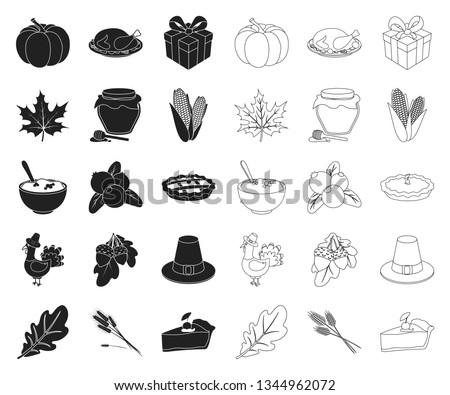 Canada Thanksgiving Day black,outline icons in set collection for design. Canada and Tradition vector symbol stock web illustration. #1344962072