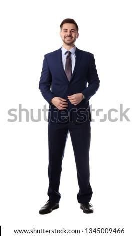 Full length portrait of businessman posing on white background Royalty-Free Stock Photo #1345009466