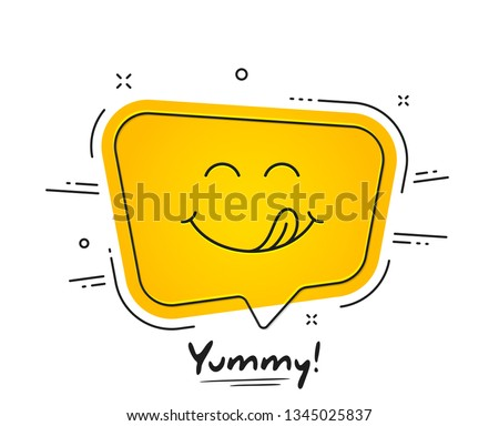 Yummy smile emoticon with tongue lick mouth. Tasty food eating emoji face. Delicious cartoon with saliva drops on yellow background. Smile face speech bubble design. Savory gourmet. Yummy vector #1345025837