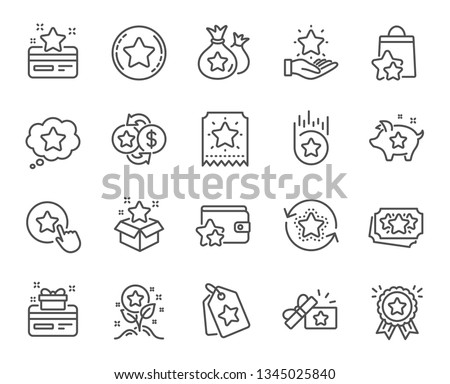 Loyalty program line icons. Bonus card, Redeem gift and discount coupon signs. Lottery ticket, Earn reward and winner gift icons. Shopping bag, loyalty card and lottery present. Vector #1345025840