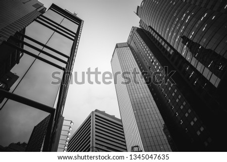 Modern Office Buildings in Hong Kong, Black and White color #1345047635
