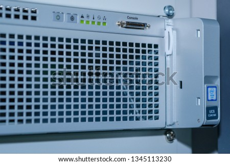 Phatthalung , THAILAND - MARCH 19 2019 : Close up Cisco logo on UCS C240 M4 , Unified Computing Servers in data center room. #1345113230