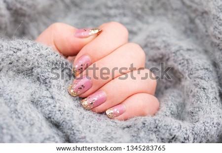 Natural Pink nails with Gold hexagon nail art design - Nail art/Nail design/Nails/Nail Model #1345283765
