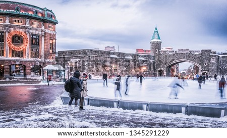 Several photos of the old town of Quebec, Chateau Frontenac, Petit Champlain neighborhood, Porte St-Jean. Winter and fall season. Province of Quebec, Canada