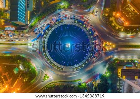 Jakarta, Indonesia - November 24, 2018 : An aerial view of Bundaran HI, Jakarta #1345368719