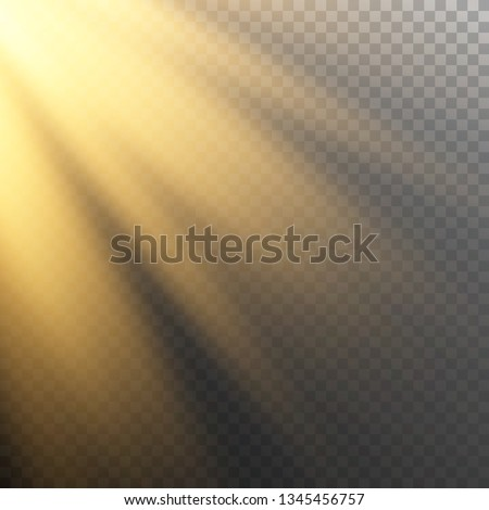 Vector of sunlight, bright rays of illumination on a transparent background, vector image for banners, posters and cards #1345456757