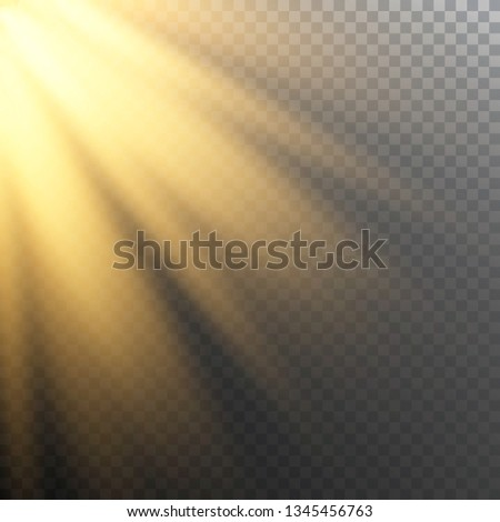 Vector of sunlight, bright rays of illumination on a transparent background, vector image for banners, posters and cards #1345456763
